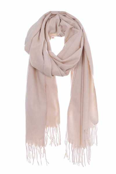 Solid fringed oblong scarf