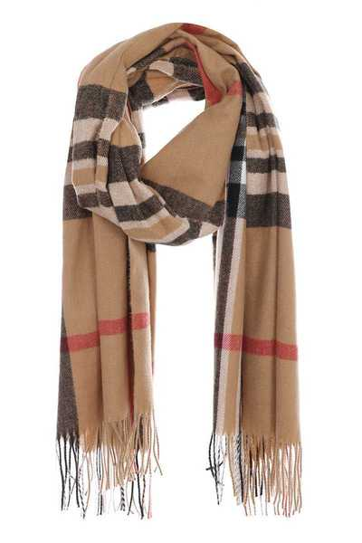 Checker plaid print winter scarf with fringes