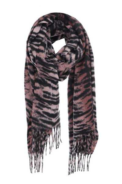 Animal print oblong winter scarf with fringes