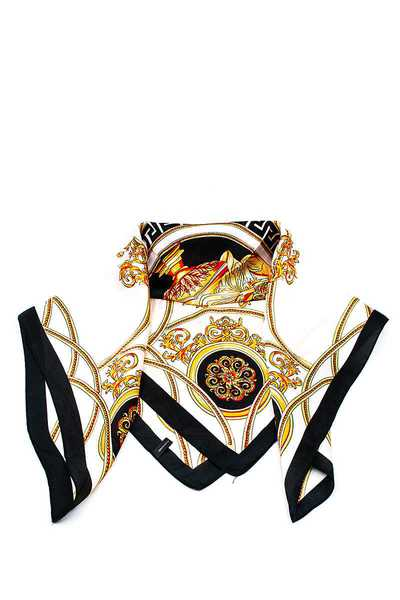 STYLISH ROYAL EMBLEM PRINT SILKY BANDANA FACE MASK