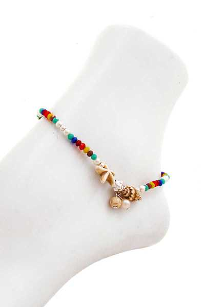 FASHION BEADED AND SEA SHELL ANKLET