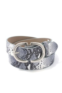 METAL BUCKLE SANKE PATTERN PU LEATHER BELT
