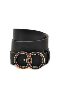 DOUBLE ACETATE CIRCLE PU LEATHER BELT