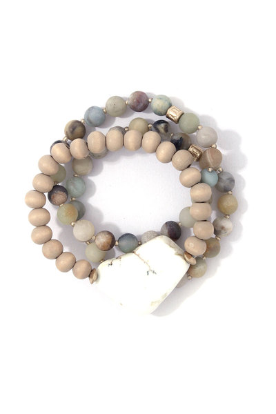 NATRUAL STONE BEADED STRETCH BRACELET SET
