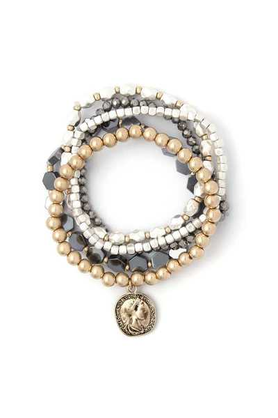 COIN CHARM BEADED STRETCH BRACELET SET