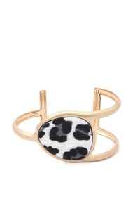 ABSTRACT ANIMAL PRINT METAL CUFF BRACELET