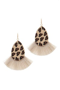 ANIMAL PRINT OVAL SHAPE FAN TASSEL DROP EARRING