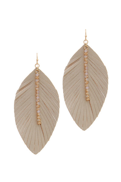 PU LEATHER FRAY BEADED DROP EARRING