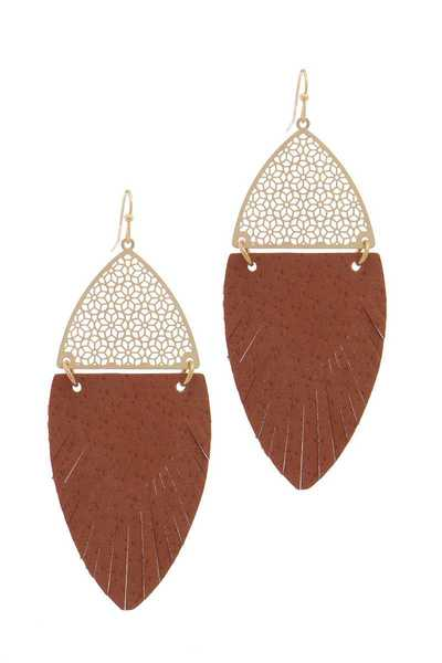 LEATHER METAL DROP EARRING
