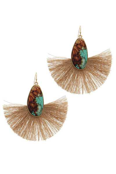 PRINTED OVAL SHAPE FAN TASSEL DROP EARRING