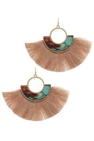 PRINTED FAN TASSEL DROP EARRING