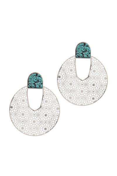LASER CUT CIRCEL POST DROP EARRING