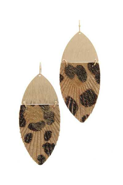 HALF METAL HALF ANIMAL PARINT PATTER DROP EARRING