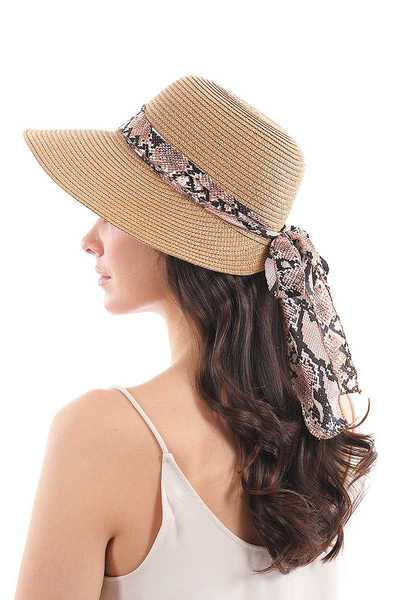 STYLISH NATURAL WOVEN HAT WITH PYTHON RIBBON BAND AND BOW