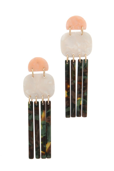ACETATE DANGLE POST DROP EARRING