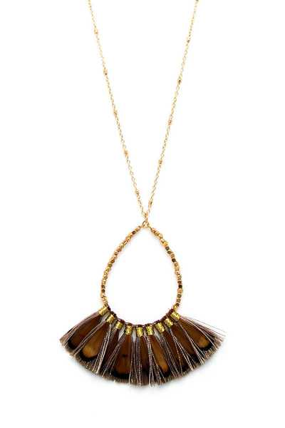 CHIC STYLISH FAN TASSEL PENDNAT NECKLACE AND EARRING SET
