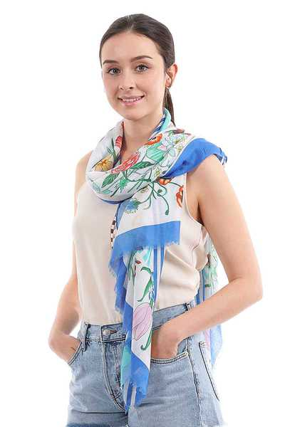 COLOR BLOCK AND FLORAL CHIFFON SCARF