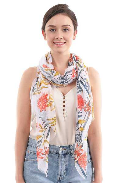 SOFT CHIFFON FLOWER AND LEAF PRINT SCARF