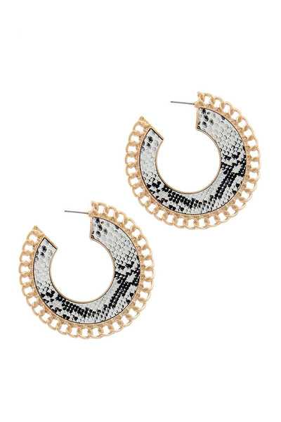 SNAKE PATTERN METAL OPEN CIRCLE DROP EARRING
