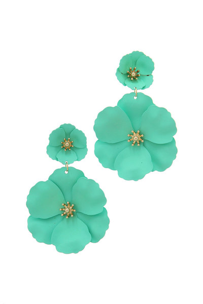 DOUBLE FLOWER SHAPE POST DROP EARRING
