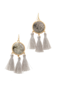 CIRCLE TASSEL DROP EARRING