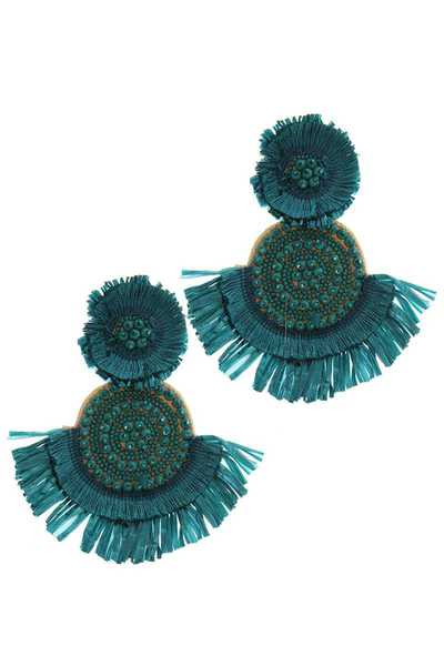 DOUBLE CIRCLE BEADED RAFFIA POST DROP EARRING
