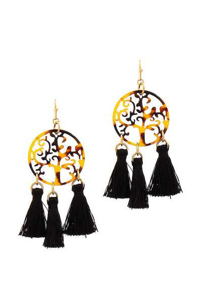 STYLISH TREE FILIGREE AND TASSEL DROP EARRING