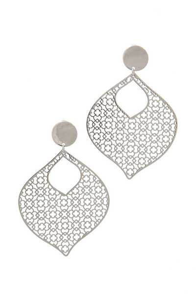 LASER CUT METAL POST DROP EARRING