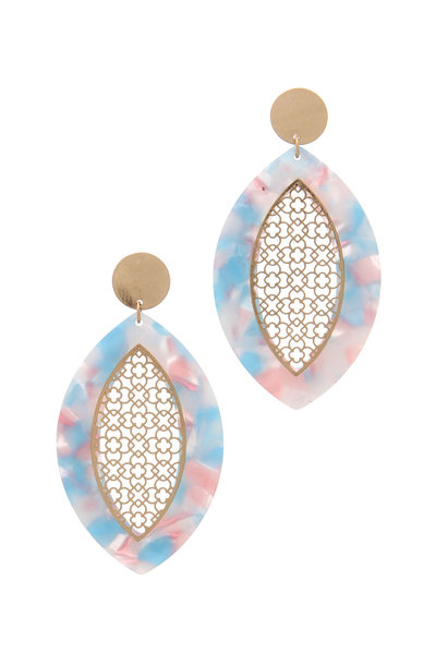 POINTED OVAL ACETATE POST DROP EARRING