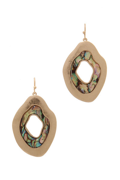 ORGANIC SHAPE ABALONE DROP EARRING