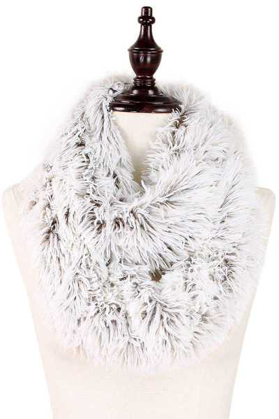 SOFT FAUX FLEECE FUR INFINITY SCARF