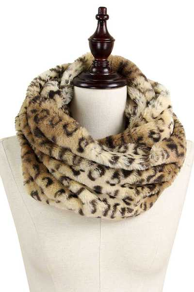 LEOPARD FUR TUBE INFINITY SCARF