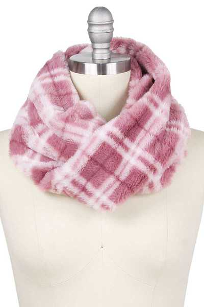 PLAID PRINT FAUX FUR TUBE INFINITY SCARF