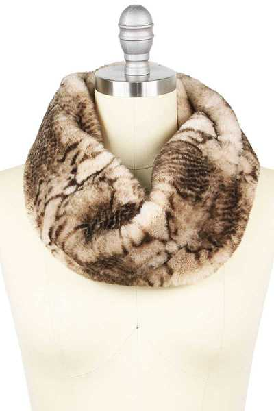 PYTHON PRINT FUR TWISTED TUBE INFINITY SCARF