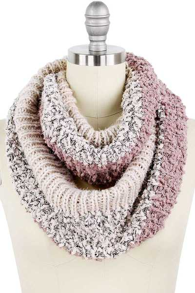COLOR BLOCK LUREX KNIT INFINITY SCARF