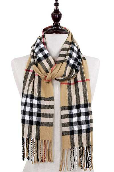 PLAID OBLONG SCARF WITH FRINGE