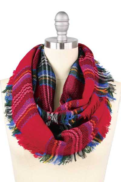 CHIC WOVEN PLAID INFINITY SCARF