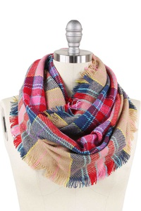 FASHION PLAID PATTERN FRINGE INFINITY SCARF