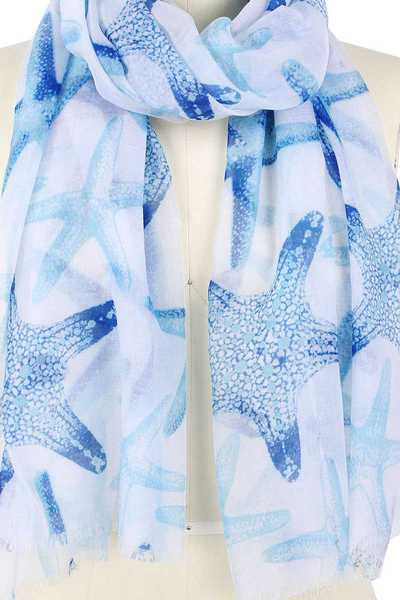 STYLISH SOFT STARFISH PRINT SCARF