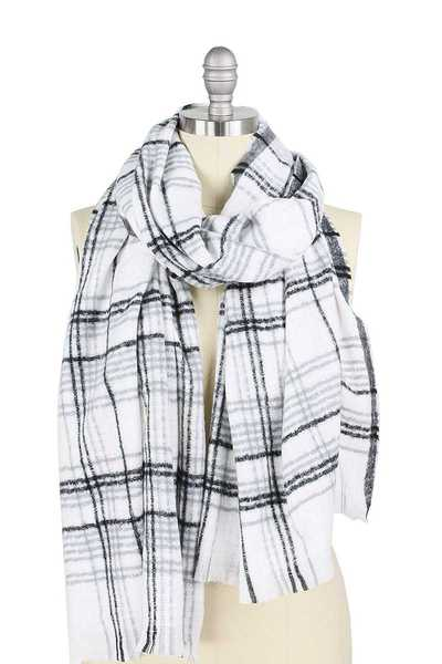 TRENDY MODERN PLAID OBLONG SCARF