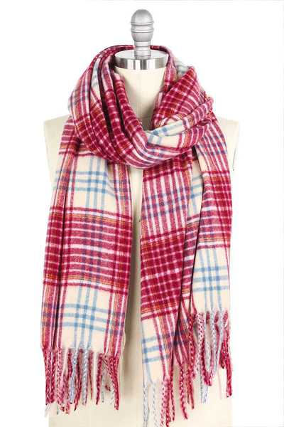 STYLISH PLAID BRUSHED OBLONG SCARF