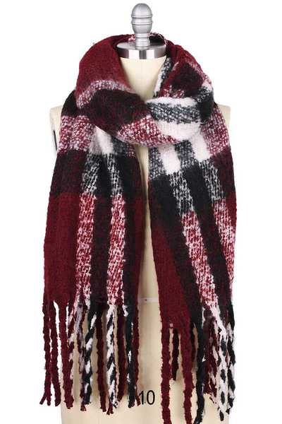 BRUSHED PLAID PUFFY SCARF WITH TASSEL