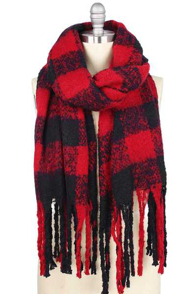 BUFFALO CHECK PUFFY SCARF WITH TASSEL