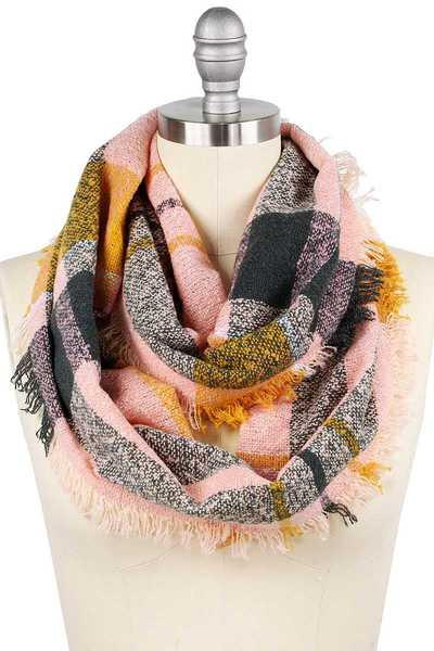 PLAID WOVEN COLOR BLOCK CHECK INFINITY SCARF