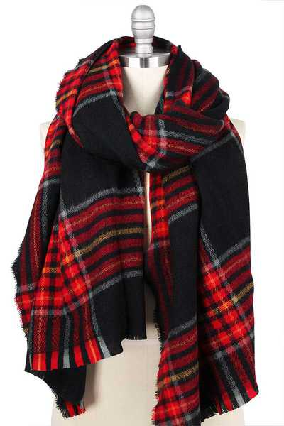 PLAID OVERSIZED SHAWL SCARF