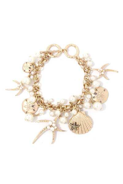 STAR FISH SHELL CHARM DANGLE METAL BRACELET