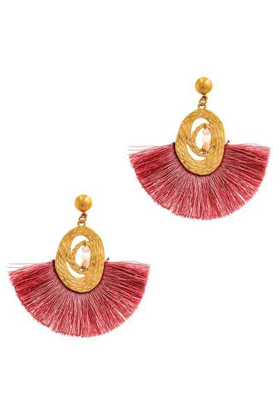 STYLISH TRENDY FAN TASSEL DANGLE EARRING