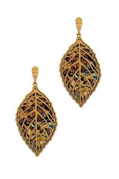 STYLISH CHIC LAYER LEAF DROP EARRING