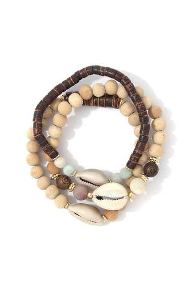 COWRIE SHELL BEADED BRACELET SET