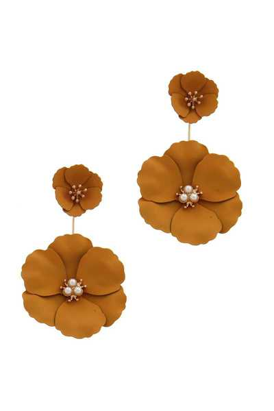 FASHION MODERN FLOWER DROP EARRING